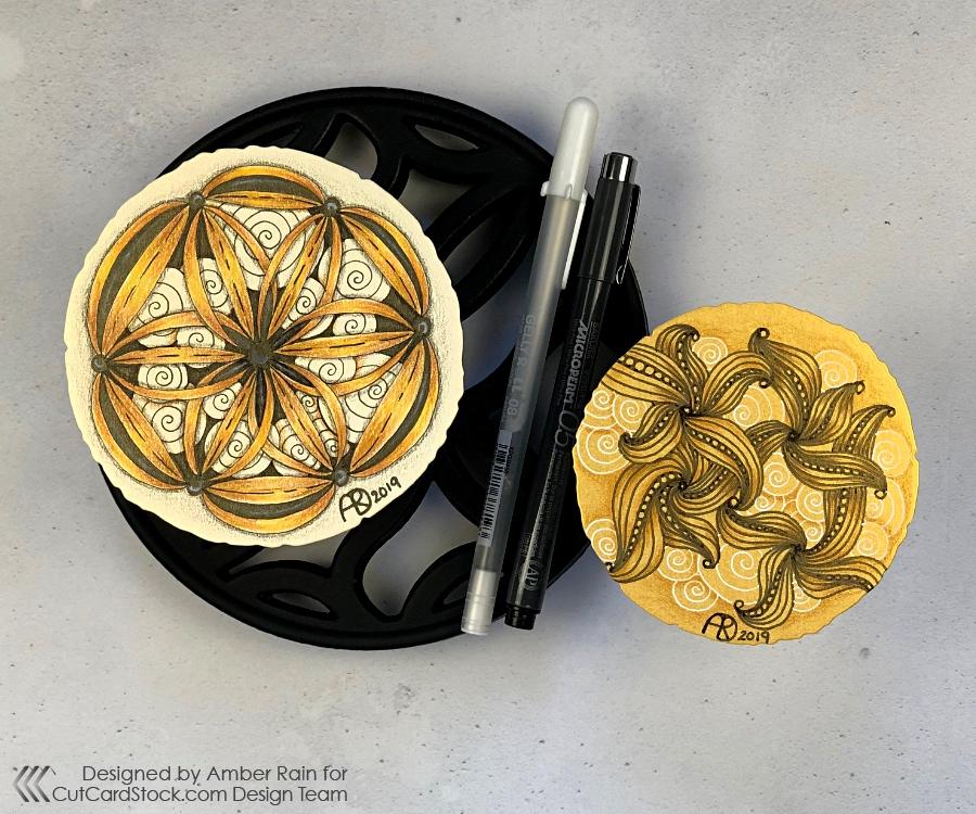 Zentangle on Gold Cardstock | Ravel & Printemps