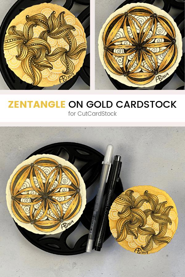 Pinterest   Zentangle on Gold Cardstock   Ravel , Rumpus, & Printemps