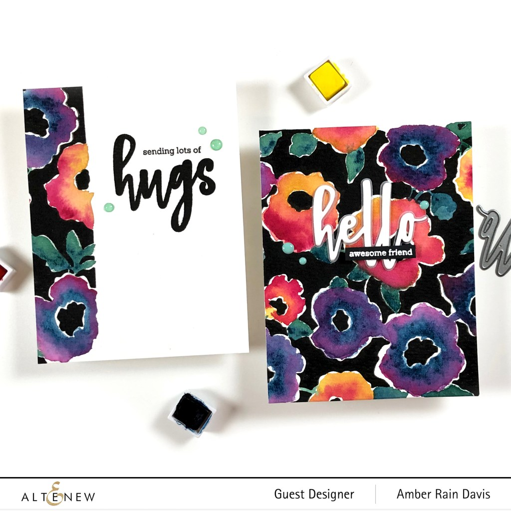 Bold Floral Drape Watercolor cards | Hello and Hugs