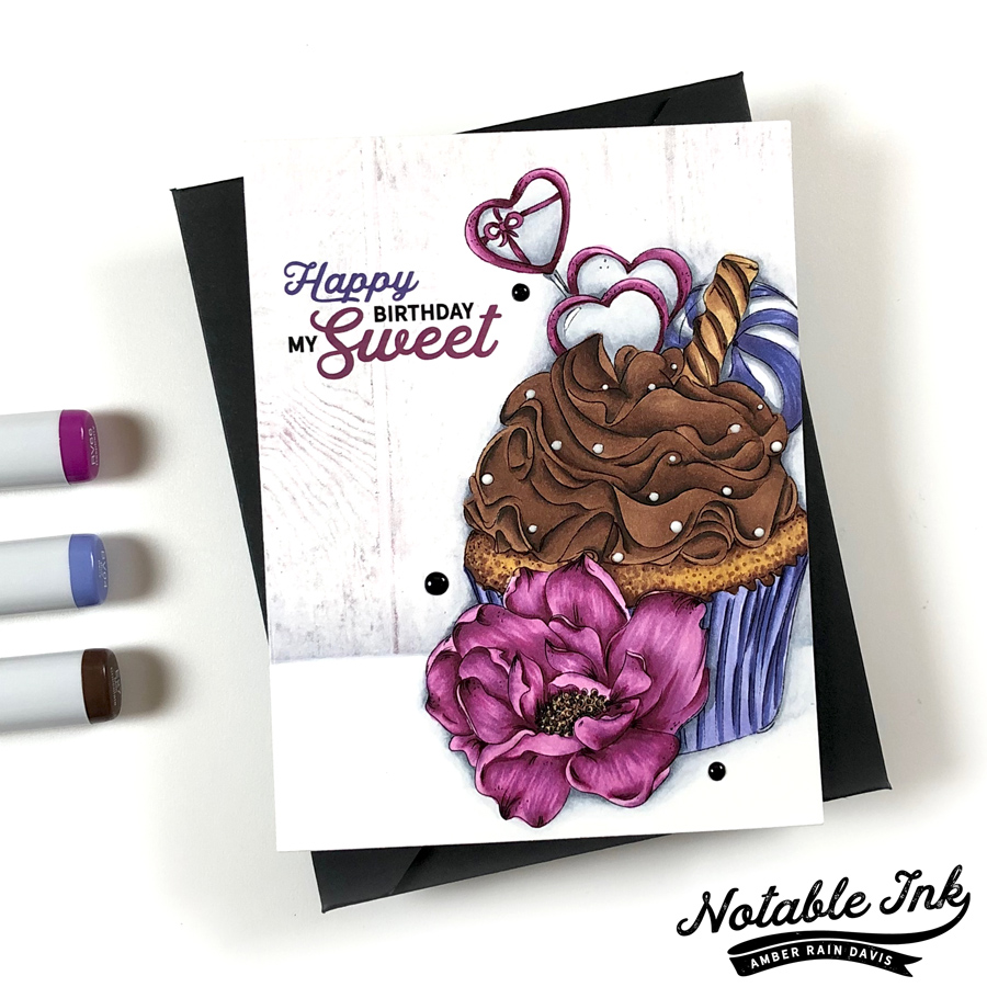 Copic Candy Cupcake & Sketched Peony