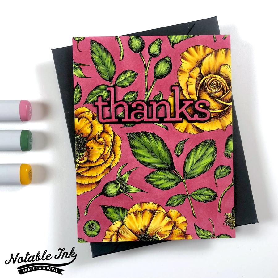 Rose Wallpaper Card | Pink, Yellow, Green Colorway