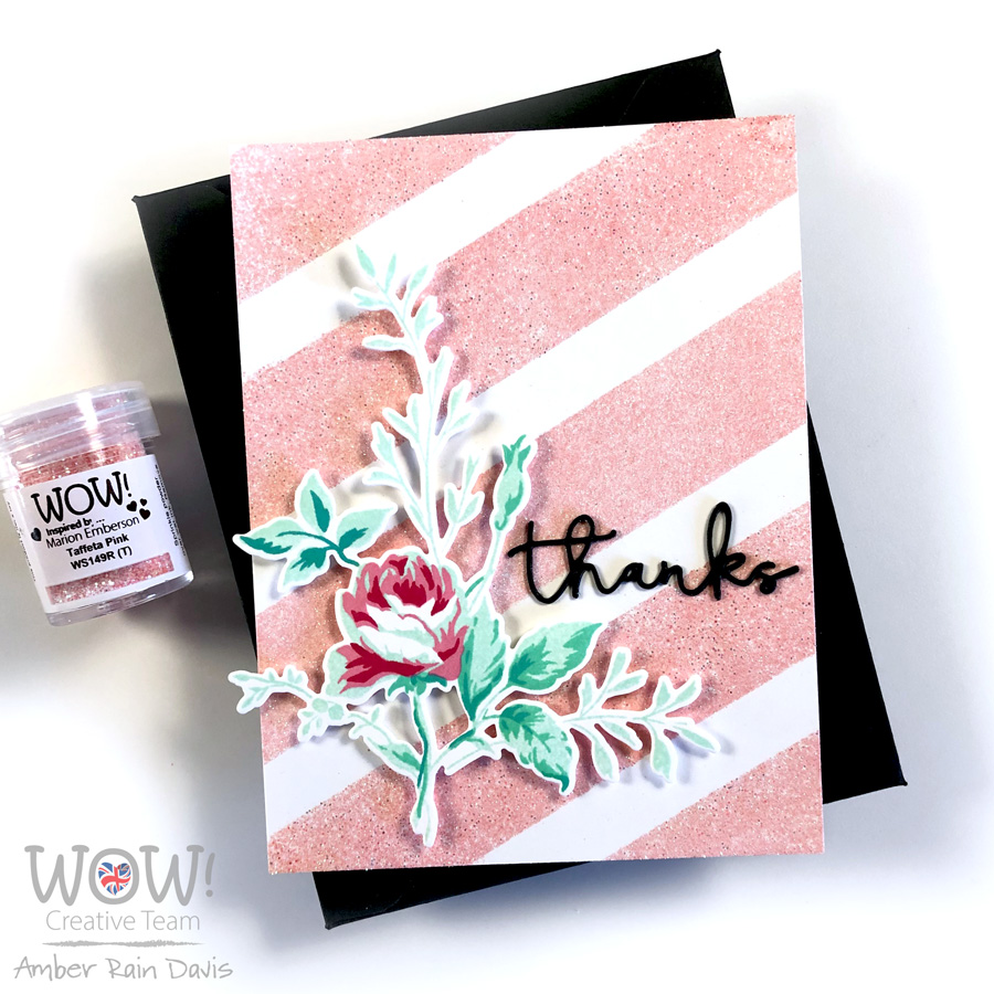 "WOW! Taffeta Pink Embossing Powder + Taylored Expression 1"" Stripes Set Stencil"
