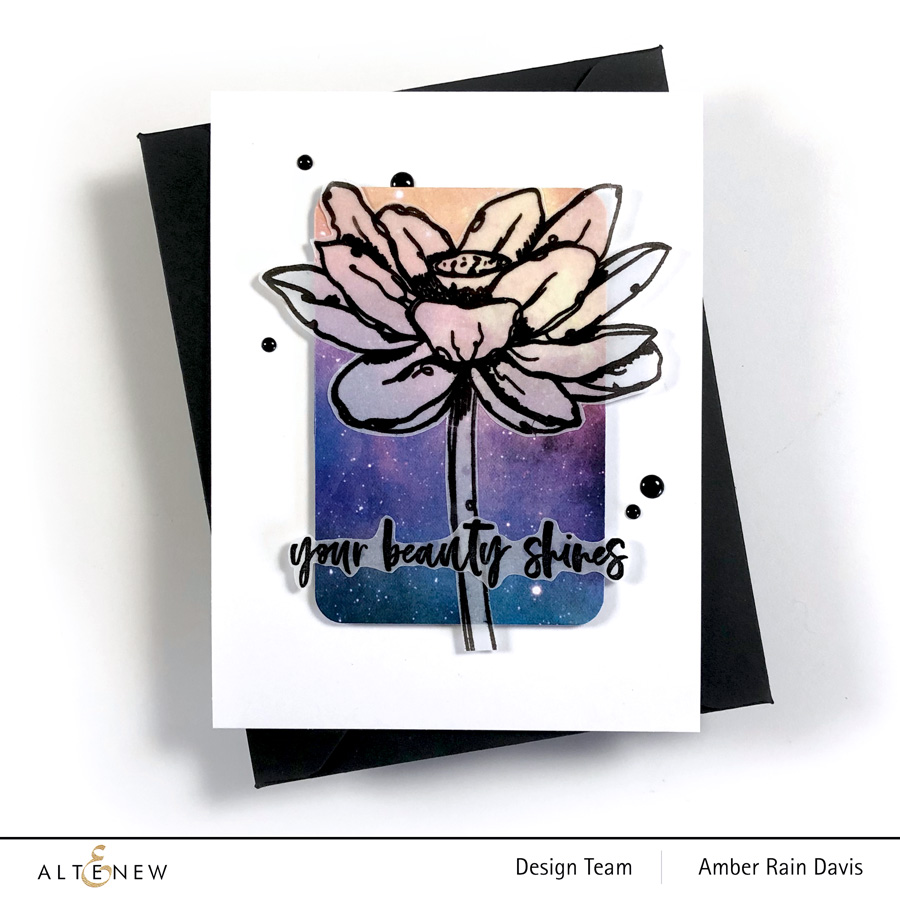Altenew Inked Lotus Stamp Set | clean & graphic no coloring card design