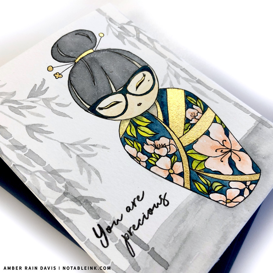 Watercolor Kokeshi Doll Mitsuki Doll Stamp