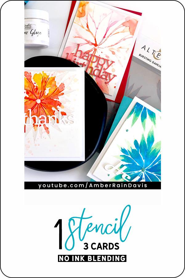 PINTEREST - 1 Stencil 3 Cards No Ink Blending