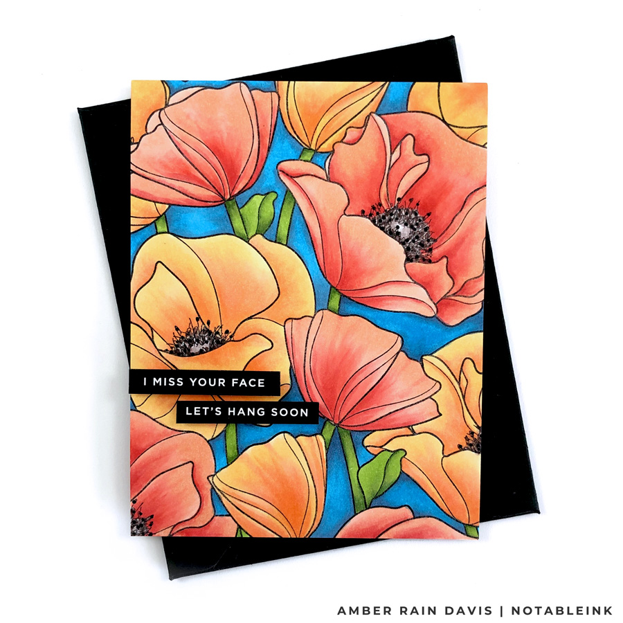 Copic Color Simon Says Stamp Poppies Background