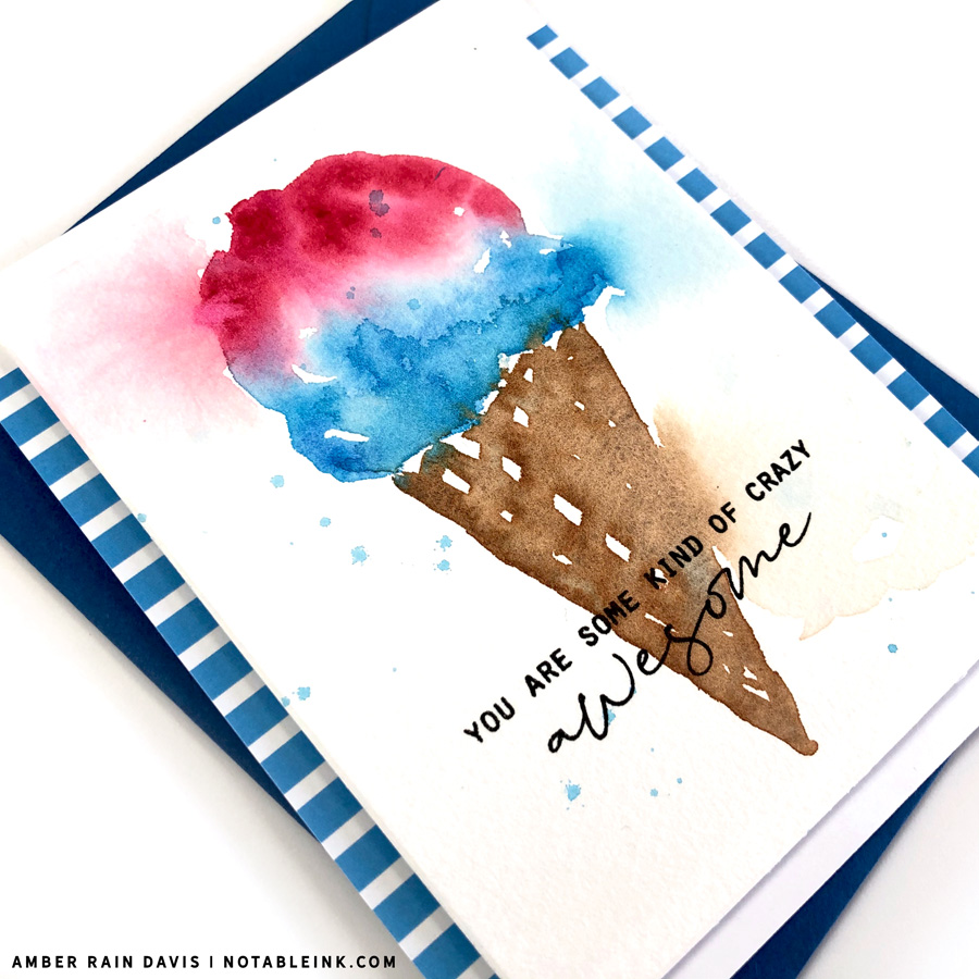 easy ice cream watercolor card