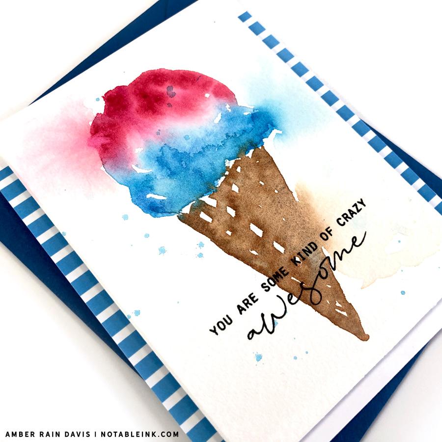 easy ice cream watercolor card
