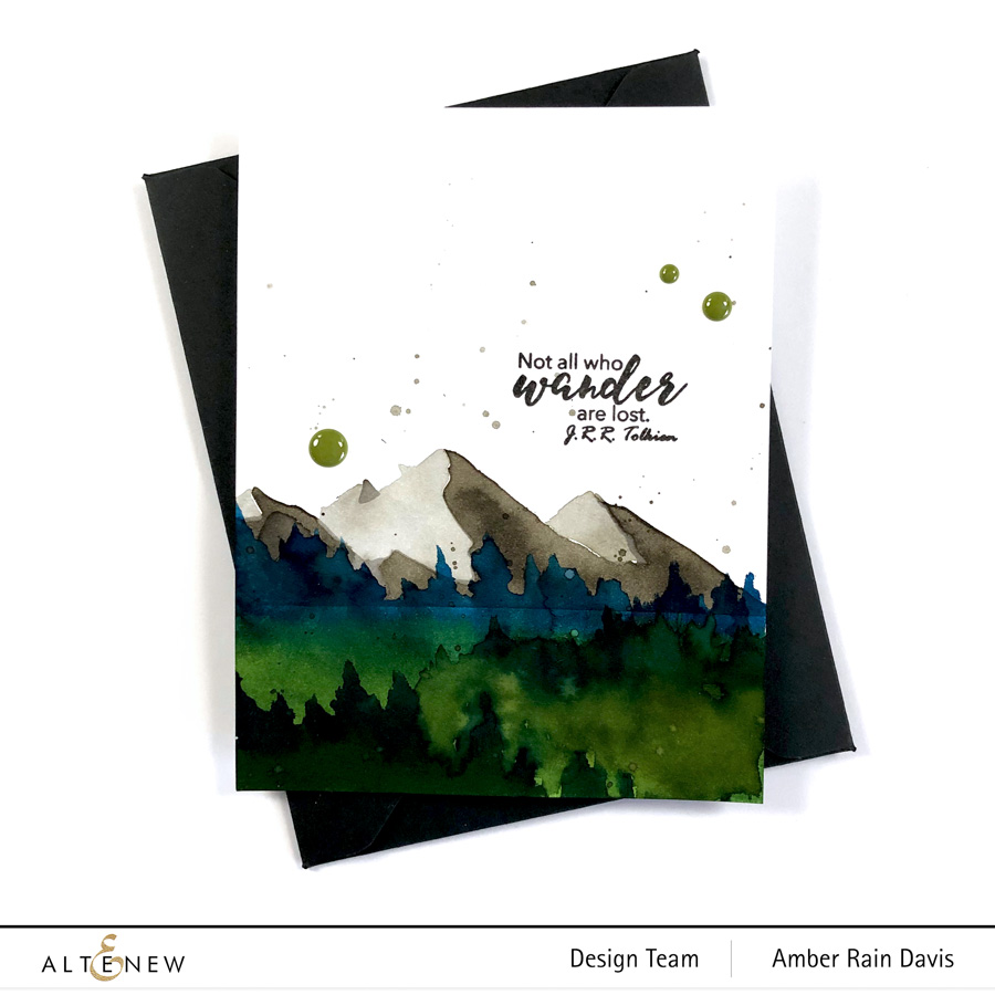 Altenew Mountain Scene Stencil & Wanderlust Stamp Set