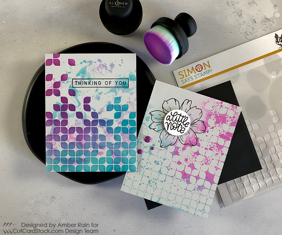 Layer Ink Smooshing & Stenciling on Gray Cardstock