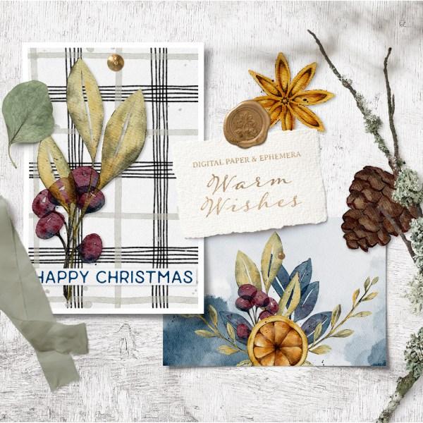 Warm Wishes Digital Paper & Ephemera