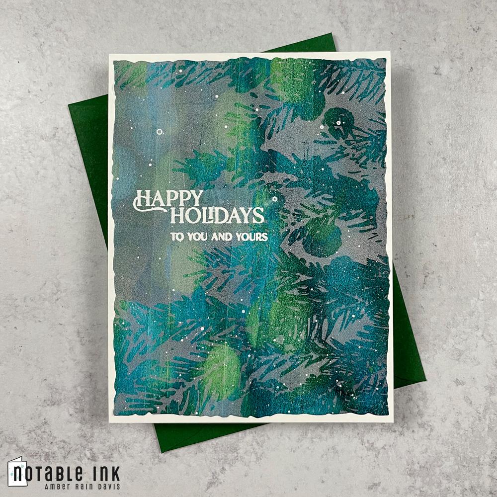 Gel Print Holiday Card | Fir Branch Stamp Set