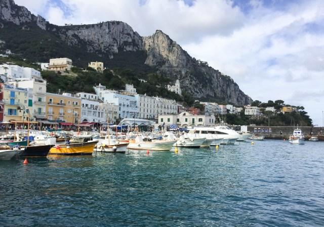 Your one day in Capri starts at the Marina Grande, Capri's colorful harbor.