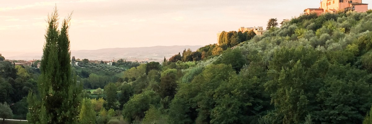 The Tuscan countryside viewed from the Villa del Sole in Siena Italy