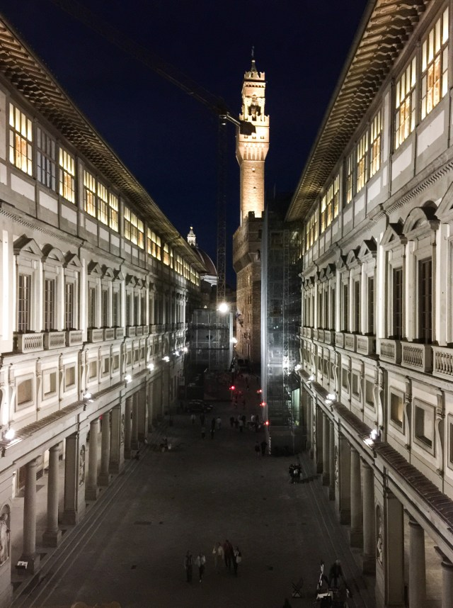 The Uffizi Galleries are lit up at night