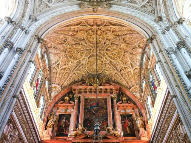 Beautiful detail in the cathedral in the Mezquita in Cordoba, Spain