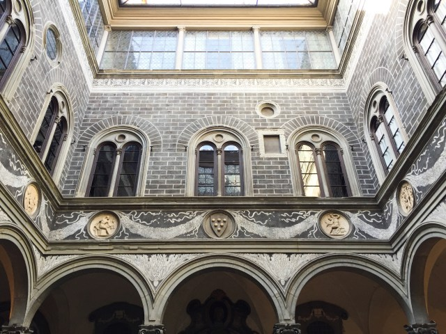 Courtyard of the Palazzo Medici in Florence, Italy