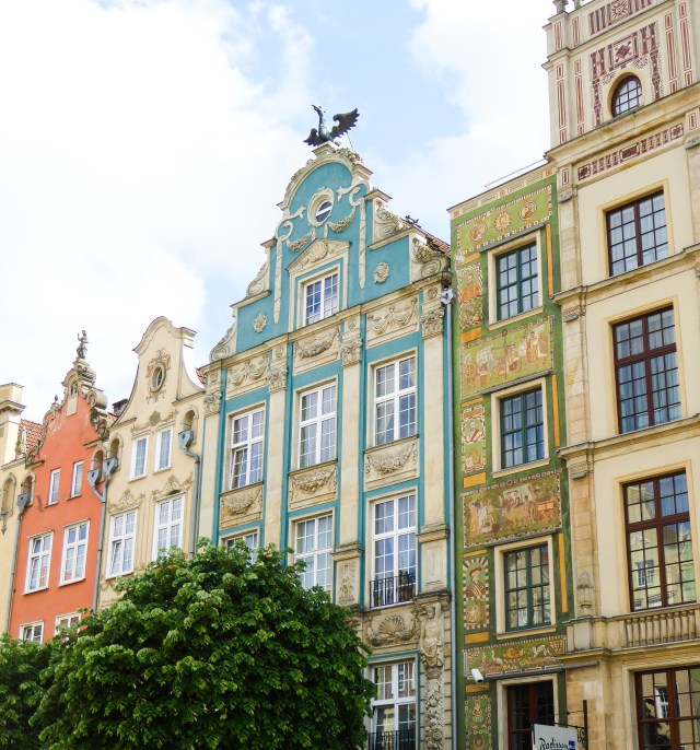 Facades on Dlugi Targ Old Town Gdansk Poland