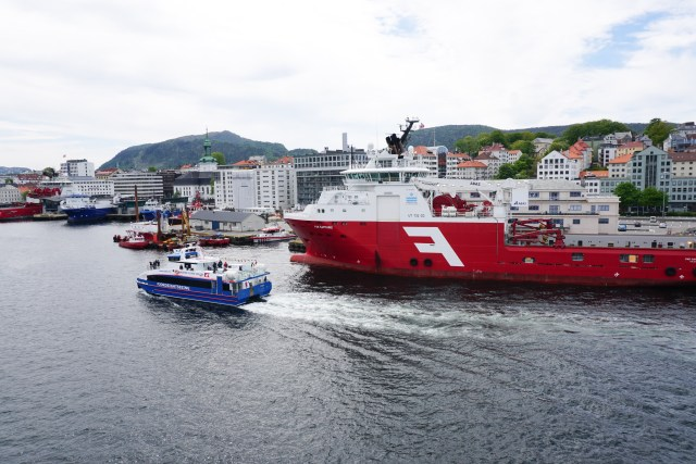 A cruise boat at Bergen Harbor in Norway