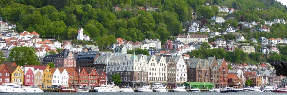 A view of beautiful Bryggen in Bergen Norway