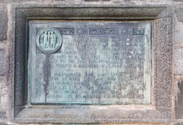 World War I Memorial Plaque in Bergen Norway