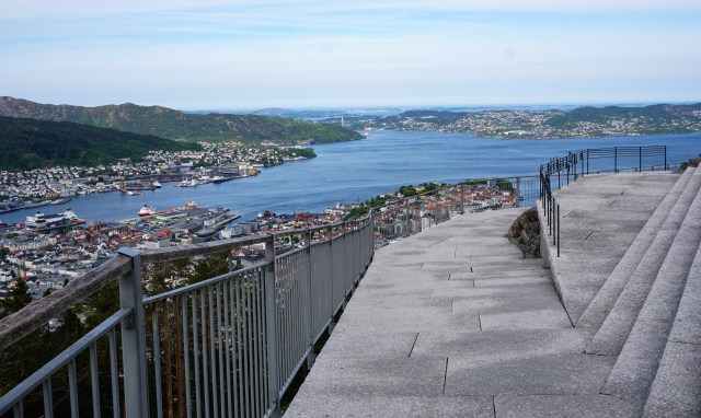Part of the large viewing platform at the top of Mt. Floyen in Bergen Norway