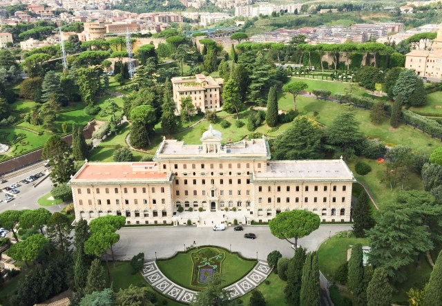 View of the Vatican Gardens from the top of St. Peter's Dome in Vatican City