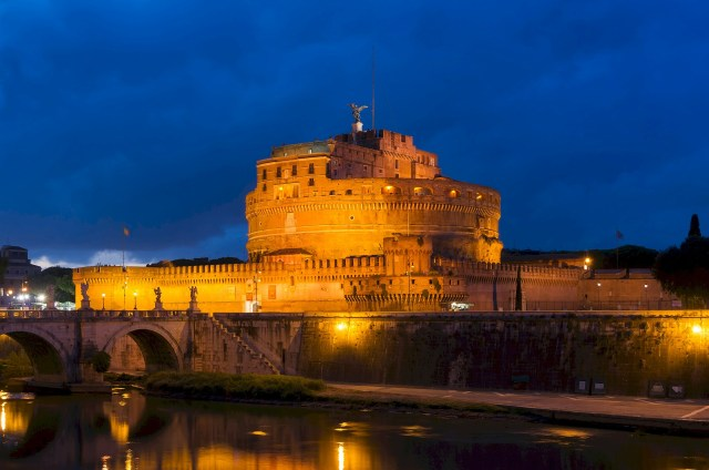 Castel Sant'Angelo at night Rome Italy