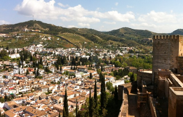 The Alcazaba at the Alhambra in Granada Spain