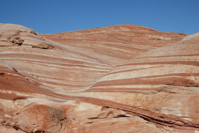 Red and tan striations at the Fire Wave in Valley of Fire Nevada