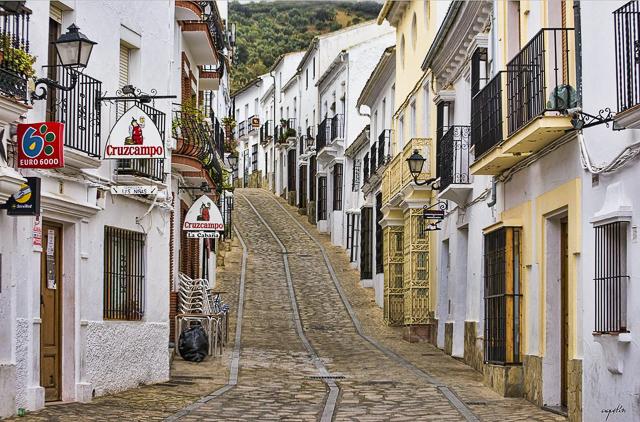 Street in Zahara de la Sierra Andalusia Spain