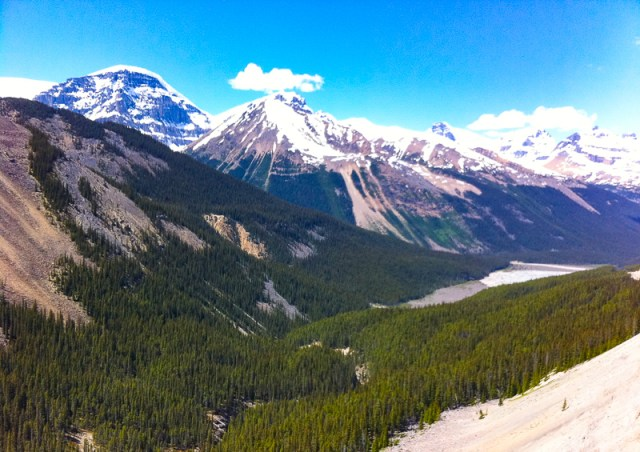 View from the Glacier Skywalk at the Columbia Icefields Discovery Centre in Alberta Canada