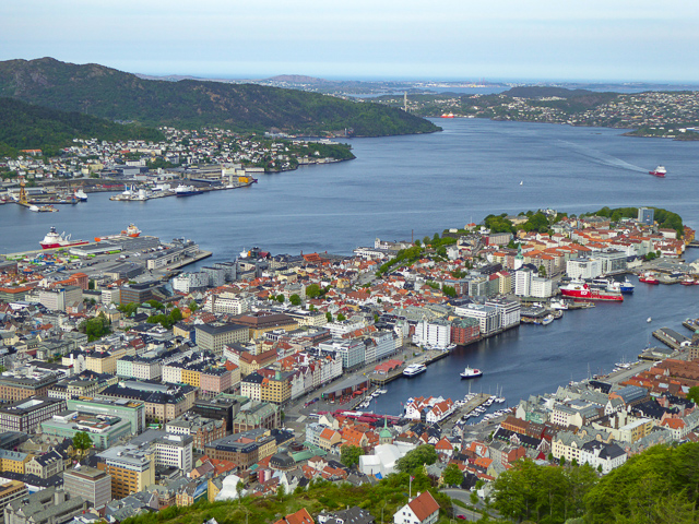 A view of Bergen from the top of Mt. Floyen in Bergen Norway