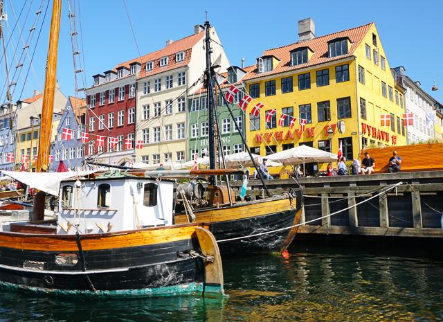 Facades of Nyhavn in Copenhagen Denmark