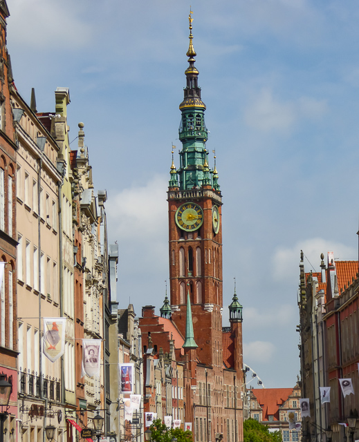 The graceful Clock Tower of the Town Hall at Gdansk Poland