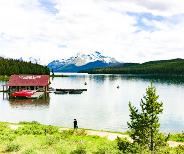 Boathouse at Maligne Lake in the Canadian Rockies