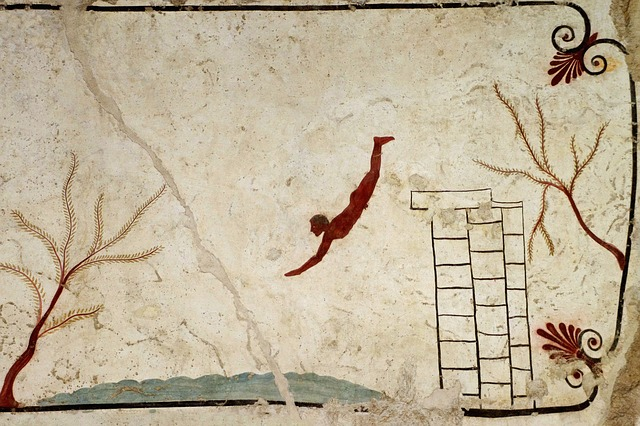 Tomb of the Diver Fresco at Paestum Museum in Campania, Italy
