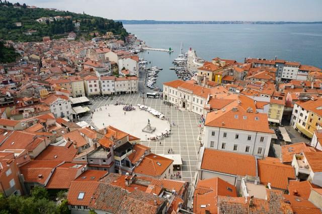 Tartini Square from Bell Tower Piran Slovenia