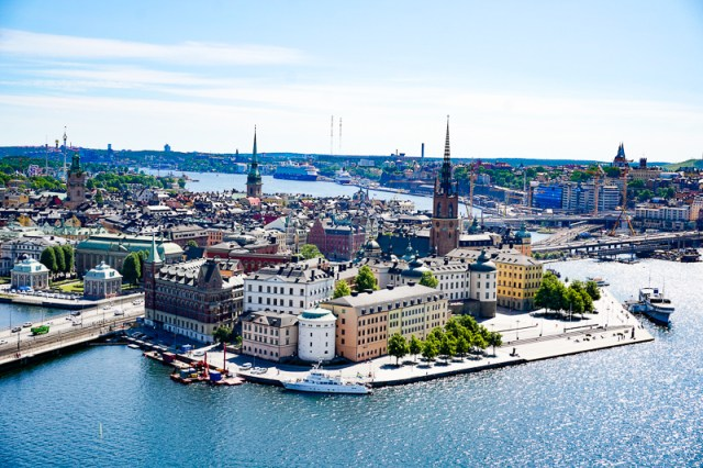 Gamla Stan from City Hall Tower in Stockholm, Sweden