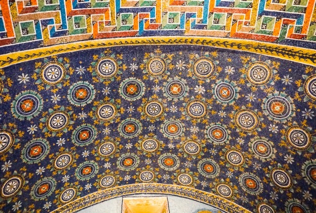 Rich mosaics in the Mausoleum of Galla Placidia, Ravenna, Italy