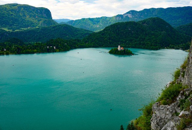 View of Bled Island from Bled Castle Slovenia