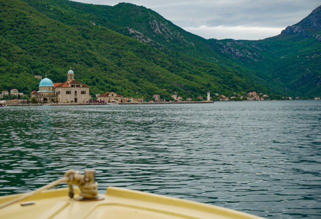 Taking a boat to the Church of Our Lady of the Rocks in the Bay of Kotor