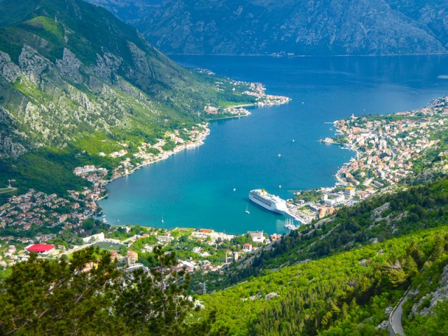 Looking down at the Bay of Kotor in Montenegro