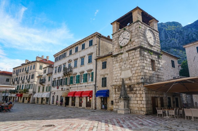 The main square in Old Town Kotor, Montenegro