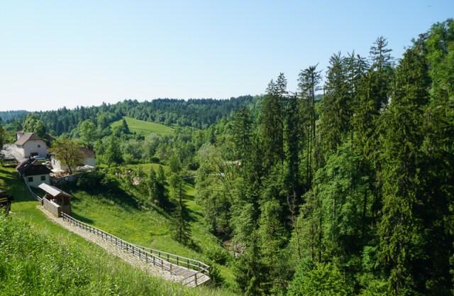 View from Predjama Castle in Slovenia