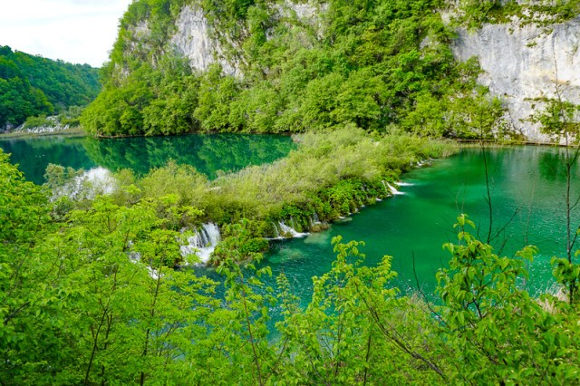 Beautiful lakes in Plitvice Lakes National Park in Croatia