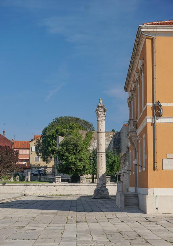 Pillar in Roman Forum Zadar Croatia