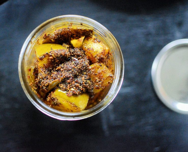 The best recipe for a raw mango pickle Indian style.