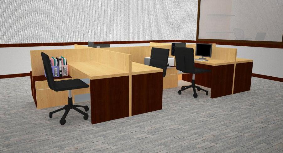 Ruang Kerja Karyawan Dengan Partisi Meja Kerja Terbuka