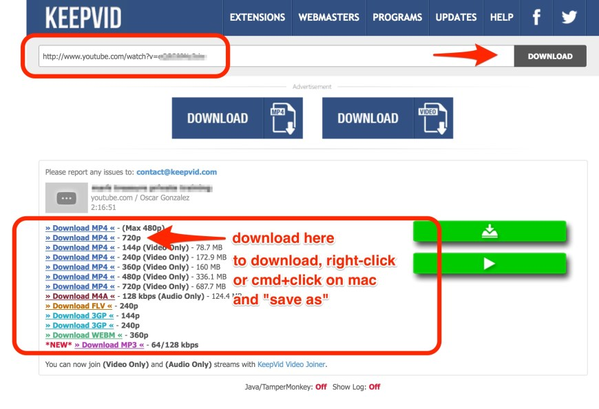 Screenshot marked up showing where to place the URL and where the link is to download the video